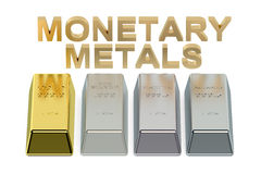 Set of monetary metals ingots Royalty Free Stock Photography