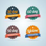 Set of money back guarantee badges in flat style. Set of money back badges in flat style. 30, 60, 90 days and Lifetime guarantee. Vector illustration Royalty Free Stock Image