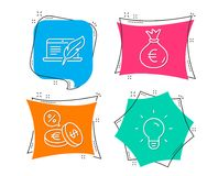Money bag, Copyright laptop and Currency exchange icons. Light bulb sign. Set of Money bag, Copyright laptop and Currency exchange icons. Light bulb sign. Euro Stock Photography