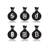 Set of money bags with currency symbol Royalty Free Stock Photography