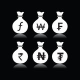 Set of money bags with currency symbol Stock Photo
