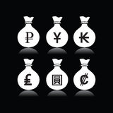 Set of money bags with currency symbol Royalty Free Stock Images
