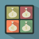 Set of Money Bags with currency symbols Royalty Free Stock Images
