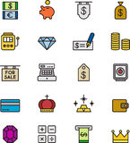 Set of money and bank icons Stock Photos