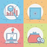 Set of money and bank icons. Collection vector illustration graphic design Stock Photography