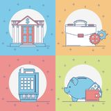 Set of money and bank icons. Collection vector illustration graphic design Royalty Free Stock Photos