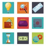 Set of money and bank icons. Collection vector illustration graphic design Stock Image