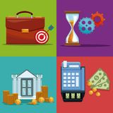 Set of money and bank icons. Collection vector illustration graphic design Royalty Free Stock Photography