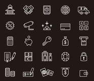 Set of money and banking icons. Illustrated set of different money and banking icons on a black background Stock Photos
