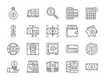 Set of Money and Banking Line Icons. Online Payments, Terminal, ATM and more. royalty free illustration
