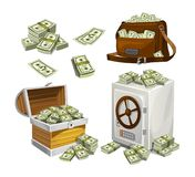 Set of money banknotes for games, posters, banners etc. Game money. Chest, bag and safe full of bacnknotes. Set of money banknotes for games, posters, banners stock illustration