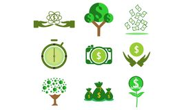 Set of money, clock dollar logo vector royalty free illustration