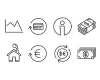 Money currency, Exchange currency and Refund commission icons. Line chart, Banking signs. Set of Money currency, Exchange currency and Refund commission icons Stock Photos