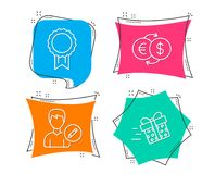 Money exchange, Edit person and Reward icons. Present delivery sign. Eur to usd, Change user info, Best medal. Set of Money exchange, Edit person and Reward Royalty Free Stock Photos