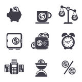 Set of money, finance, banking icons. In black color Stock Photo