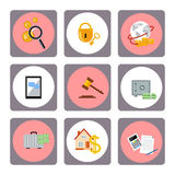 Set of money, finance, banking icons. Flat design Stock Photo
