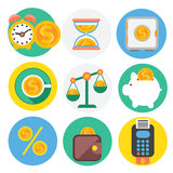 Set of money, finance, banking icons. Flat design cartoon style Royalty Free Stock Photography