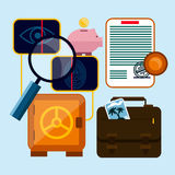 Set of money, finance, banking icons. Flat design cartoon style Royalty Free Stock Photos