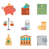 Set of money, finance, banking icons flat design style.  Royalty Free Stock Photos