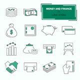 Set of money and finance line icons for web and mobile design. Set of money and finance line icons Royalty Free Stock Photography