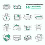 Set of money and finance line icons for web and mobile design. Set of money and finance line icons Royalty Free Stock Image