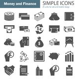 Set of money and finance simple icons for web and mobile design. Set of money and finance simple icons Stock Photos