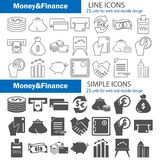 Set of money and finance simple and line icons for web and mobile design. Set of money and finance simple and line icons Royalty Free Stock Photography