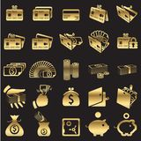 Set of money icons. Golden line Royalty Free Stock Images