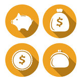 Set of money icons, finance flat style. Money icons piggy bank, purse, coin, bag of money Royalty Free Stock Photo
