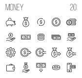 Set of money icons in modern thin line style. High quality black outline finance symbols for web site design and mobile apps. Simple linear money pictograms on Royalty Free Stock Images