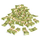 Set of money. Packing in bundles of bank notes. Isolated on white background. Image for your design projects Stock Image