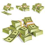 Set of money. Packing in bundles of bank notes. Isolated on white background. Image for your design projects Royalty Free Stock Image