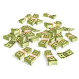 Set of money. Packing in bundles of bank notes. Isolated on white background. Image for your design projects Stock Photos