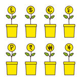 Set of money plants. Set of flowerpots with growing money plants. Pound, dollar, euro, frank, ruble, rupee, won, yen, yuan Investment concept. Linear flat style Stock Photos