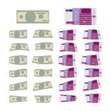 Set of Money. Euro and dollar banknotes, flat design vector illustration eps 10 Stock Illustration