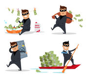 Set of Money Stealing Concepts Flat Design Vector. Set of money stealing concepts vector. Flat design. Financial crime, tax evasion, money laundering, corruption Royalty Free Stock Images