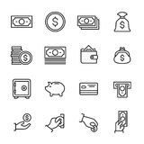 Set of 16 money thin line icons. High quality pictograms of finance. Modern outline style icons collection. Wallet, business, ATM, card, paymant, investment Royalty Free Stock Photography