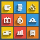 Set of 9 money web and mobile icons. Vector. Stock Photo