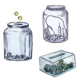 Set of moneyboxes for donation - Watercolor hand painted illustration stock illustration
