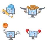 Set of monitor character with baseball cowboy basketball boxing Stock Images