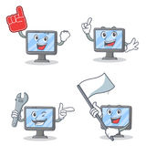 Set of monitor character with foam finger mechanic and flag Royalty Free Stock Photos