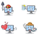 Set of monitor character with miner juice heart explorer. Vector illustration vector illustration