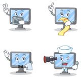 Set of monitor character with photographer menu waiter binoculars Stock Images