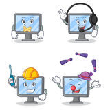 Set of monitor character with silent headphone automotive juggling Stock Photo