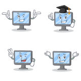 Set of monitor character with wink two finger graduation Stock Images