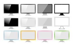 Set of monitors made in different styles: Realistic, flat, linear icon, colourful. Vector illustration of 12 pc screens. Royalty Free Stock Photography