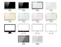 Set of monitors made in different styles: Realistic, flat, linear icon, colourful. Vector illustration of 14 pc screens. Set of monitors made in different Royalty Free Illustration