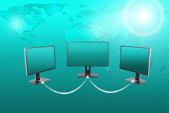 Set of monitors with spotlight Stock Photography