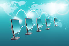Set of monitors with world map Stock Photos
