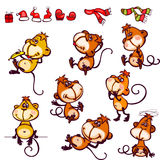 Set monkey. Set  chinese zodiac postcard 2016 with the characters monkey. You can add as isolated icon Stock Photography